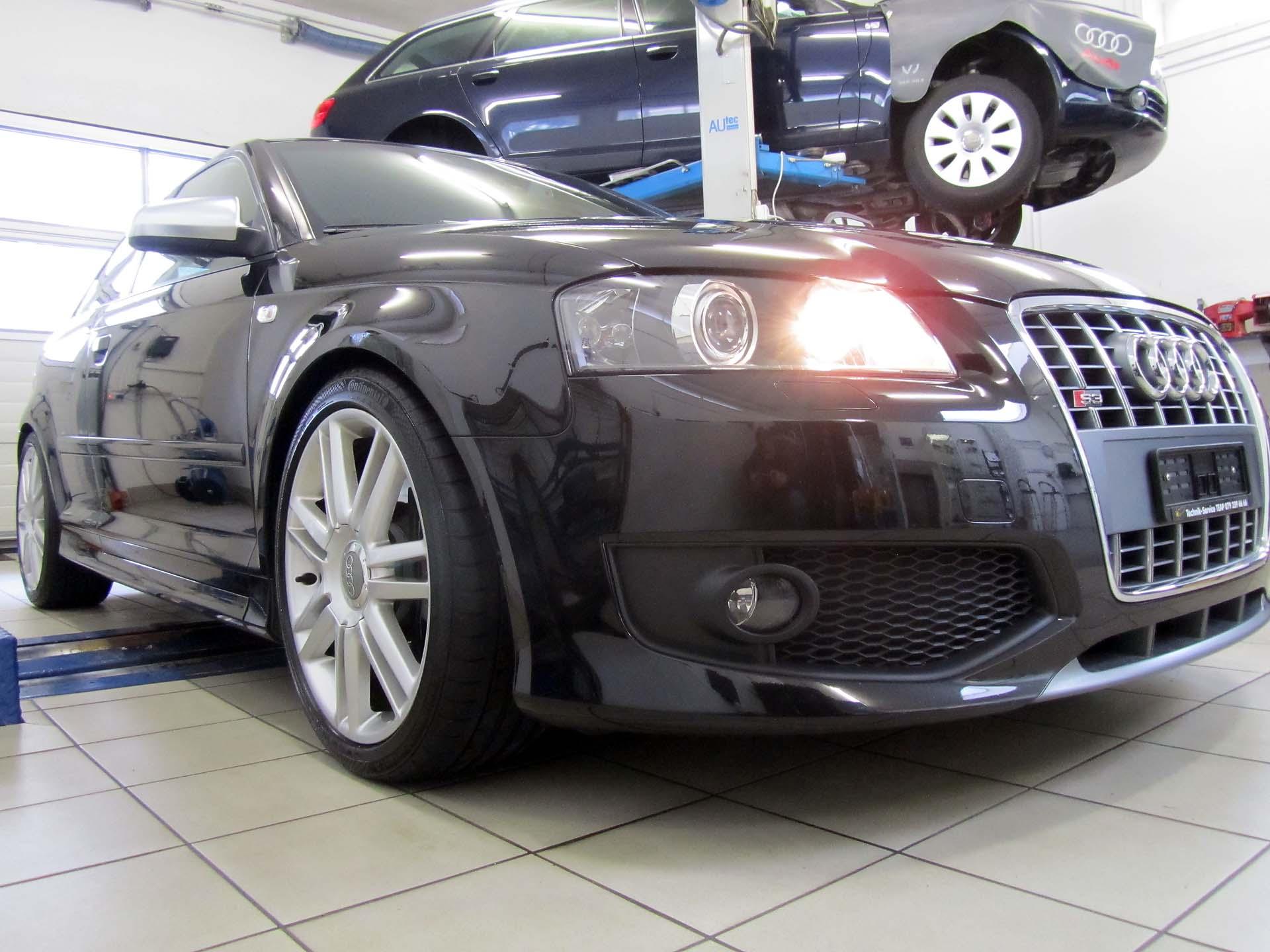 Audi S3 2.0lt TFSI 225KW 420Nm mit Fahrwerkstieferlegung und Distanzscheiben an der Vorder und Hinterachse